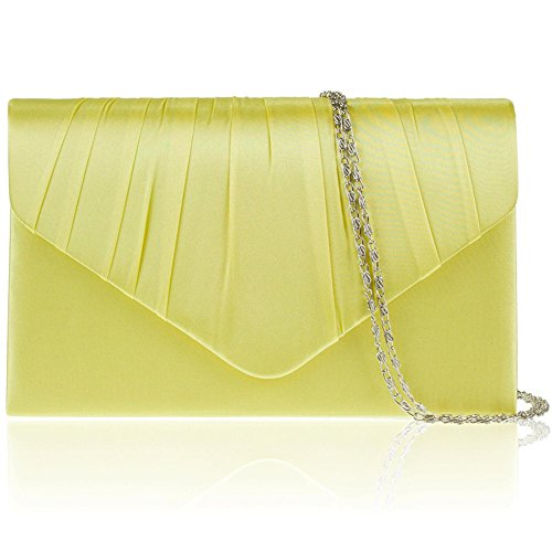 Envelope Party Zarla Lime Uk Ladies New Bags Satin Bridal Women Prom Pleated Clutch Evening IxFx0g
