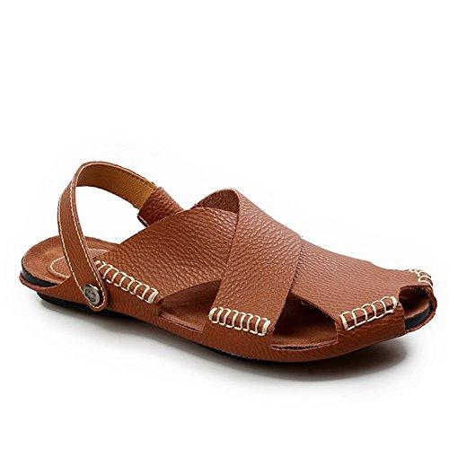 Xing Lin Flip Flop De La Playa Hechos A Mano Para Hombres Sandalias De Verano Suave Transpirable Casual Baotou Calzado De Playa Sandalias Marea De Hombres Dark brown