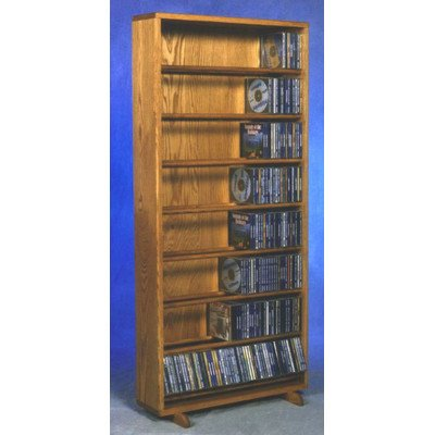 24.25 in. Dowel CD Storage Tower in Honey Oak Finish (Dark)