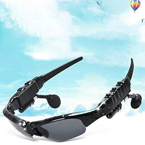 Onbio 4.1 Bluetooth Headset Stereo Wireless Bluetooth Sports Polarized Sunglasses Headphones for Biker, Motorcycle, Driving, Sports, Outdoor, Biking, Black