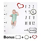 Buttercup Baby Monthly Milestone Blanket - Fleece Photography Backdrop for Infant Girls & Boys, Personalized Pictures of Your Newborn's Growth Each Month, Photo Props for Backdrop Included
