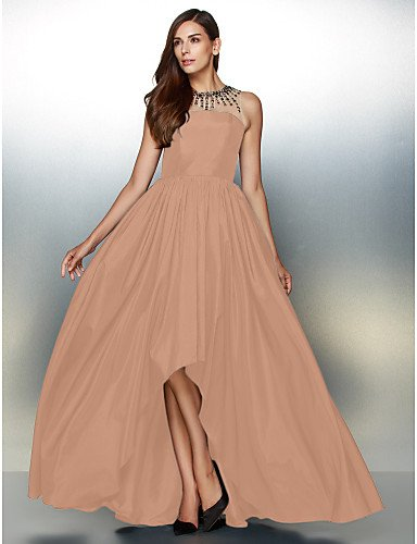 De amp;OB Línea De Asimétrica Tafetán Vestido Crystal Noche Prom Joya Cuello HY Detallando De Pearl Formal Pink Con Una pwS4Pq