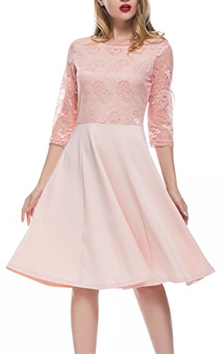 DKBAYA Women's Vintage Floral Lace 2/3 Sleeve Flare Swing Cocktail Party Dress (S, Pink) by DKBAYA