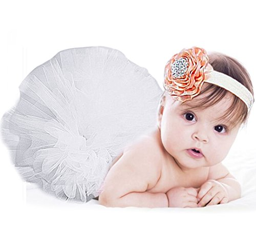[Jubileens Baby Infant Girls Photography Prop 2PCS Tutu Dress Headband Costume (White)] (Cute Unique Infant Halloween Costumes)
