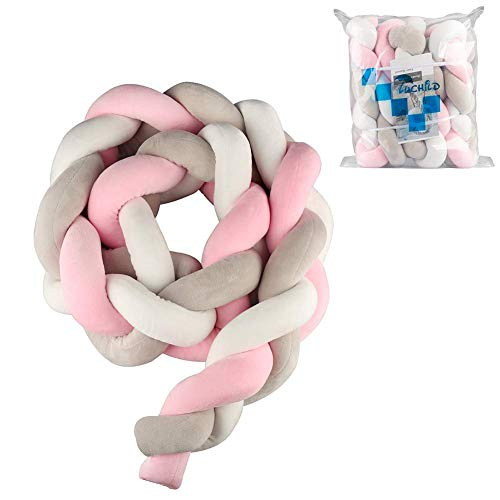 Luchild Baby Braided Crib Bumper Soft Snake Pillow Protective & Decorative Long Baby Nursery Bedding Cushion Knot Plush Pillow for Toddler/Newborn (White+Grey+Pink) from Luchild