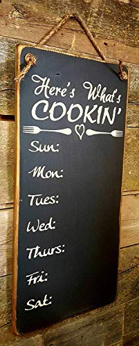 BobSign Weekly Chalkboard Menu Heres Whats Cookin Rustic Wood Sign Wall Art Home Family Decoration Design Plank Plaque Wooden Sign bb 669858