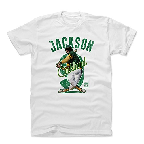 500 LEVEL Reggie Jackson Cotton Shirt (X-Large, White) - Oakland Athletics Men's Apparel - Reggie Jackson Arch G