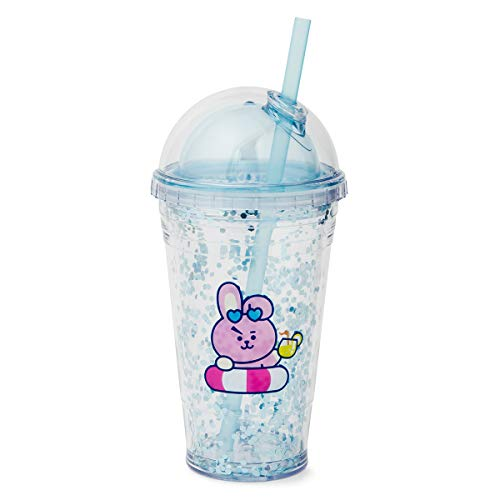 BT21 Official Merchandise by Line Friends - COOKY Character Bon Voyage Glitter Tumbler BPA Free 16-Ounce with Lid