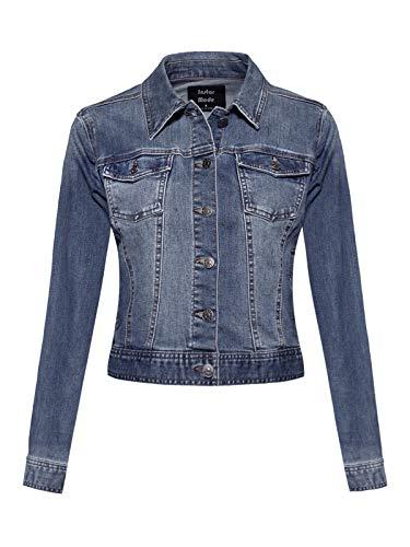 (Design by Olivia Women's Classic Casual Vintage Denim Jean Jacket/Vest Medium Denim S)