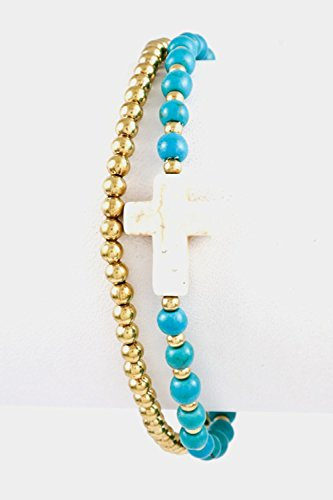 Karmas Canvas Gem Stone Cross with Beads Double Row Hand Made Bracelet (Turquoise/Ivory) Gemstone Double Row Bracelet