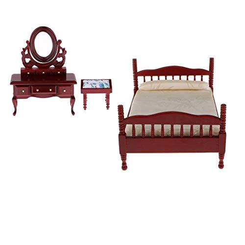 Fityle 1:12 Scale Dolls House Miniature Furniture Set Bedroom Victorian Double Bed Dressing Table and Stool Red