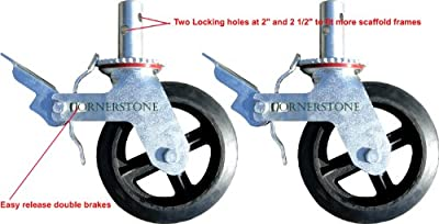 """A Set of 4 Wheel 8"""" Caster with Cast Iron Hub 1 3/8"""" Caster Wheel With 2 Lock-in Brakes Scaffolding Rolling Tower CBM1290"""