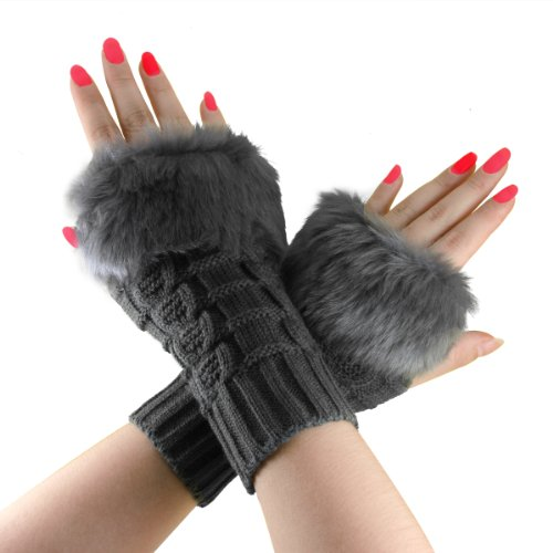 Bao Xin Design Stylish Fluffy Knitted Mitten for Beauty Wrist & Forearm Wrap Cold Proof, Weave Fingerless Glove (Medium, Deep Gray)