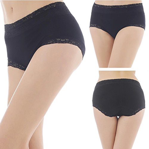 Yulee Women's Cotton Stretch Hipster Panties Underwear with Lace Trim 3 Pack