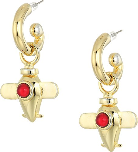 Kenneth Jay Lane Women's Center Airplane Charm Drop Pierced Earrings Gold/Ruby One Size Kenneth Jay Lane Red Earrings