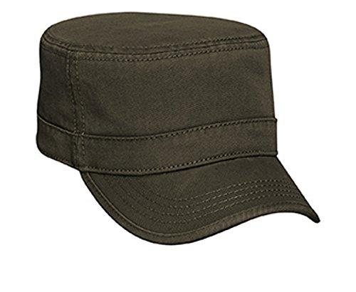 Visor Trim Twill (Hats & Caps Shop Superior Garment Washed Cn Twill with Binding Trim Visor Military Style Caps - Dk. Ol. Green - By TheTargetBuys)