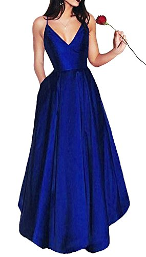 Straps Satin Evening Dress (Bonnie_Shop Bonnie Women's V-Neck Homecoming Dress 2017 Long Spaghetti Straps Satin Prom Party Dresses With Pockets BS037)