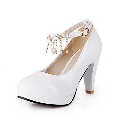 Ympäri Kiiltonahkaa Pumput Kiinteä Valkoinen Naisten kengät Toe Weipoot Suljetun Solki Korkokenkiä qwaC5PE