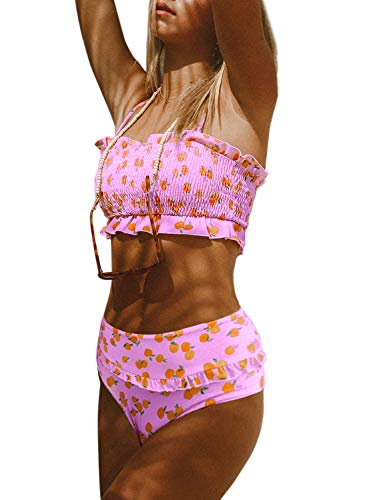 Dokotoo Women Female Push Up High Waist Strapless Lemon Printed Smocked Padded Crop Top Bikini Sets Swimsuits Two Pieces Bathing Suit Swimwear with Bottoms Pink Small