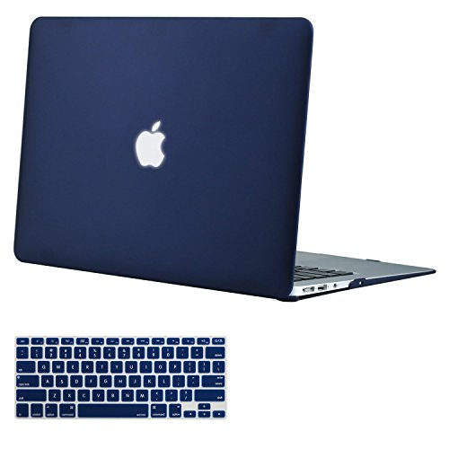 MOSISO Plastic Hard Shell Case & Keyboard Cover Compatible MacBook Air 11 Inch (Models: A1370 & A1465), Navy Blue