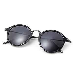 MT MIT Classic Retro Small Round Polarized Mirror Lens Metal Frame Unisex Sunglasses(Black)