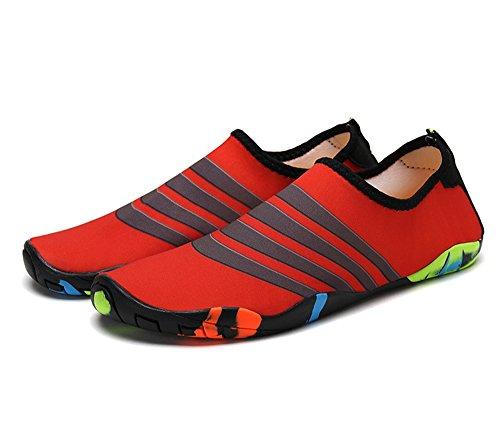 edv0d2v266 Kids Swim Water Shoes Barefoot Aqua Socks Shoes for Beach Pool Surfing Yoga(Red-02 28/11 M US Little Kid) by edv0d2v266
