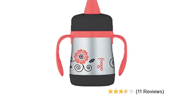 Thermos FOOGO Phases Stainless Steel Sippy Cup with Handles, Poppy Patch, 7 Ounce