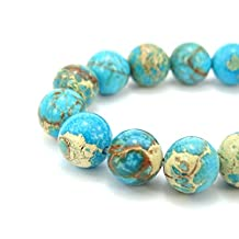 jennysun2010 Natural Turquoise Medium Blue Sea Sediment Jasper Gemstone 8mm Smooth Round Loose 50pcs Beads 1 Strand for Bracelet Necklace Earrings Jewelry Making Crafts Design Healing