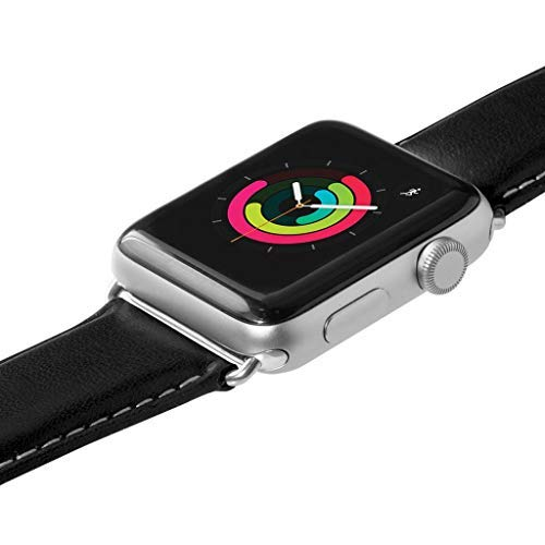 LAUT | Oxford Watch Strap for Apple Watch Series 1/2/3/4 | Silky Smooth Nappa Genuine Leather | Stainless Steel Clasp & Connectors (42mm / 44mm • Noir)