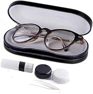 Estuche para lentes de contacto, 2 en 1, estuche para gafas y ...