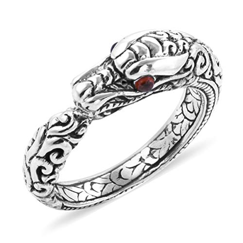 (Dragon Ring 925 Sterling Silver Round Garnet Gift Jewelry for Women Size 8)