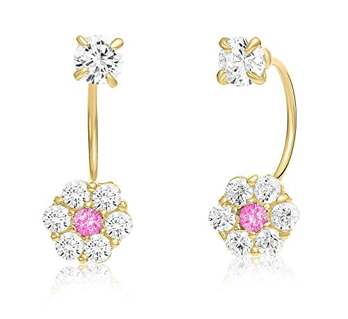 10k Yellow Gold Halo Flower Stud and Solitaire CZ Front-back Earrings with Simulated Birthstone - Gold Birthstone 10k Flower Earrings
