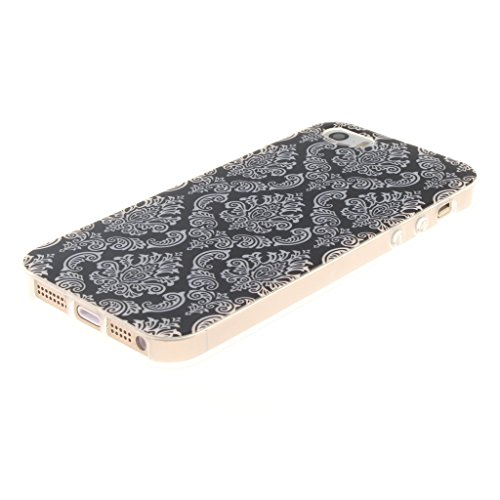 Weiße Blumen Drucken Design schwarz weich Silikon TPU für Apple iPhone 5 5S / SE Hülle,Premium Handy Tasche Schutz Hülle Case Cover Etui Schutz schutzhülle Bumper Schale Silicone für Apple iPhone 5 5S