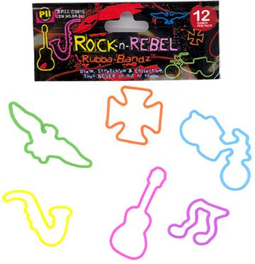 Price comparison product image Rubba Bandz Shaped Rubber Bands 12Pack Rock N Rebel