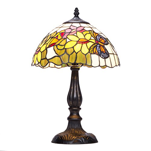 CO-Z Tiffany Style Table Lamps Art Glass Shade, Floral and Butterfly Type Desk Lamp for Bedroom Living Room, 17 inches in Height, UL Listed. (Floral Tiffany Lamp)