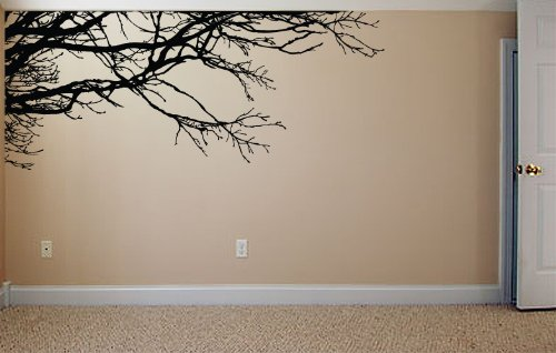 Amazon com stickerbrand nature vinyl wall art tree top branches wall decal sticker black 53 x 120 left to right easy to apply removable