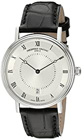 Frederique Constant Men's 'Slim Line' Silver Dial Black Leather Strap Stainless Steel Swiss Automatic Watch  FC-306MC4S36