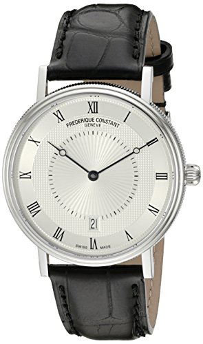 Frederique Constant Men's 'Slim Line' Silver Dial Black Leather Strap Stainless Steel Swiss Automatic Watch  FC-306MC4S36 by Frederique Constant (Image #5)