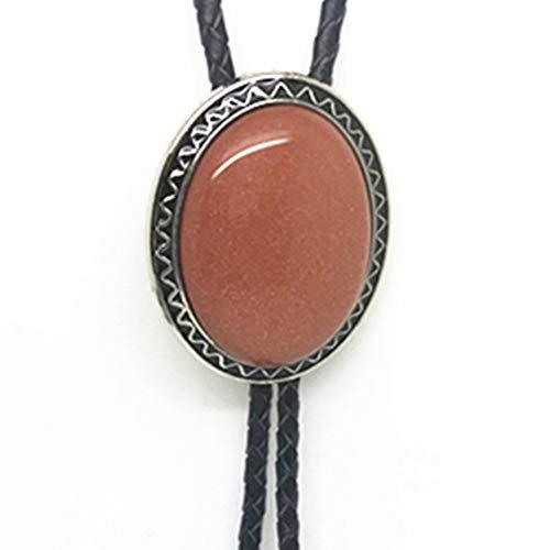 - KeCol Adult Western Native American Indian Vintage Agate Bolo Tie Necktie (Light Coral)