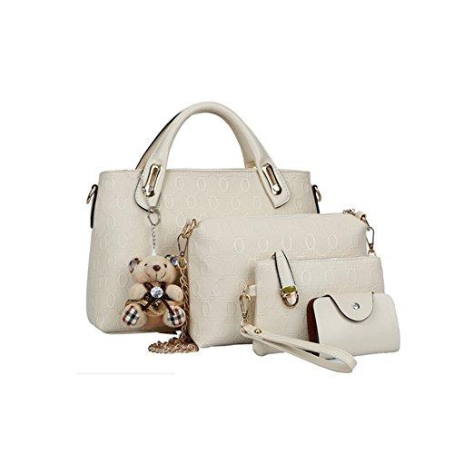 Women Handbag Shoulder Bag Messenger Tote Purse PU Leather (White) - 6