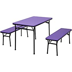 Cosco Products COSCO 3 Piece Indoor Outdoor Table and 2 Bench Tailgate Set, Purple Top, Black Frame