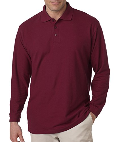 (Ultraclub 8542 Long-Sleeve Whisper Pique Polo - Wine - 5XL)