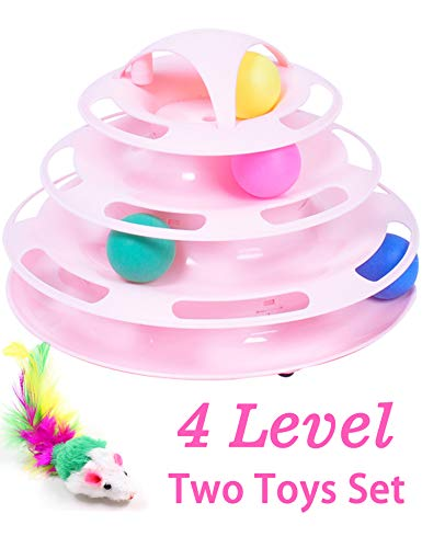 Morove New Upgraded Tower of Tracks 4 Level Cat Tracks Interactive Ball Toy and Feather Fluffy Mouse Toy Set for Cat…