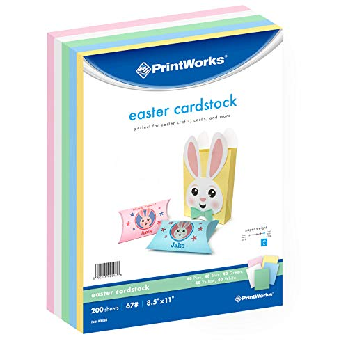 Pastel Cardstock - Printworks Easter Cardstock Collection, 67lb Heavyweight Cardstock, Includes Pastel Pink, Green, Yellow, Blue, and White Cardstock, 200 sheets total, Perfect for Cards, Crafts & More ...