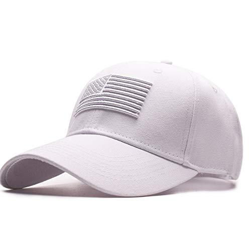 (caomingxuan Baseball Cap Unisex Cotton Outdoor Baseball Cap Raised Flag Embroidery Snap Back Fashion Sports Hats for Men & Women Caps,White)