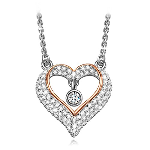 [Mothers Day Necklace LadyColour Ture Love Heart Pendant Necklace, White Gold Plated Jewelry for Women, Swarovski Crystals, Mothers Day Gifts from Daughter, Mothers Day Gifts from Son, Gifts for] (Best Mother And Son Costumes)