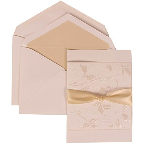 JAM Paper Wedding Invitation Set - Large (5 1/2'' x 7 3/4'') - White Card with Falling Leaves and Ecru Ribbon, Ecru Lined Envelopes - 50/pack by JAM Paper