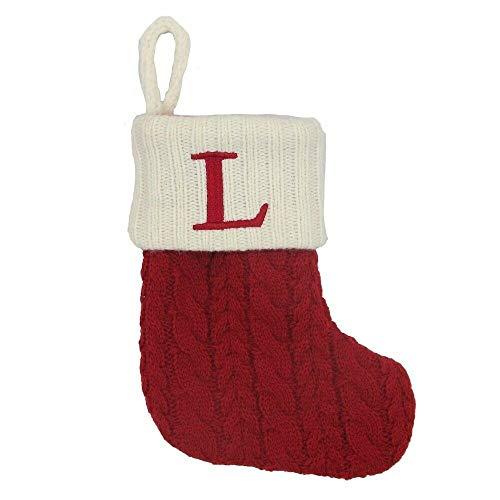 St. Nicholas Square Mini 7-in Knit Monogram Christmas Stocking, Letter L