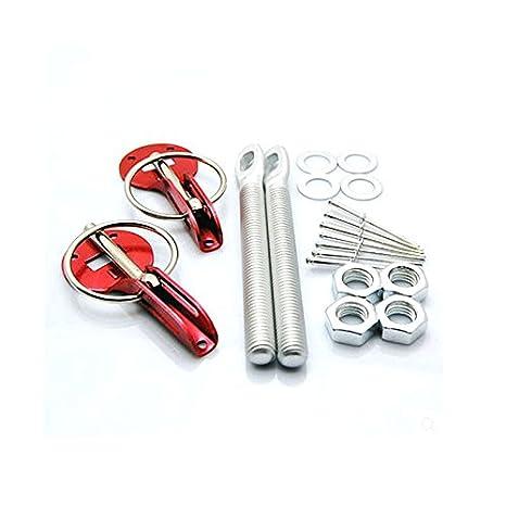 Etbotu 2pcs Aluminum Universal Racing Car Bonnet Hood Lock Kit Clasps Threaded Engine Pin