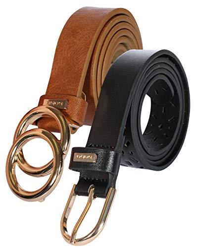 'Bebe Women's Designer Fashion Waist Belts - 2 Pack, Cognac/Black Size ()